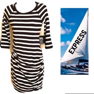 Black White Dress EXPRESS Striped Ruched NWT